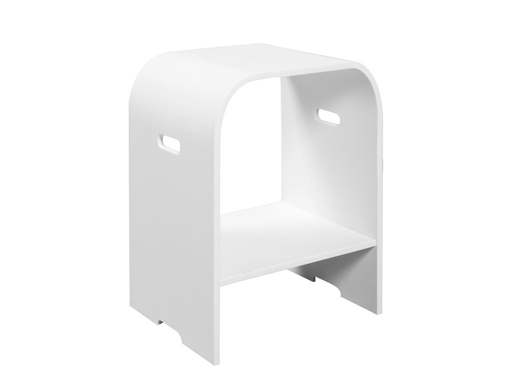 Dw sgabello white e teak cip design ed accessori for Sgabello plexiglass doccia